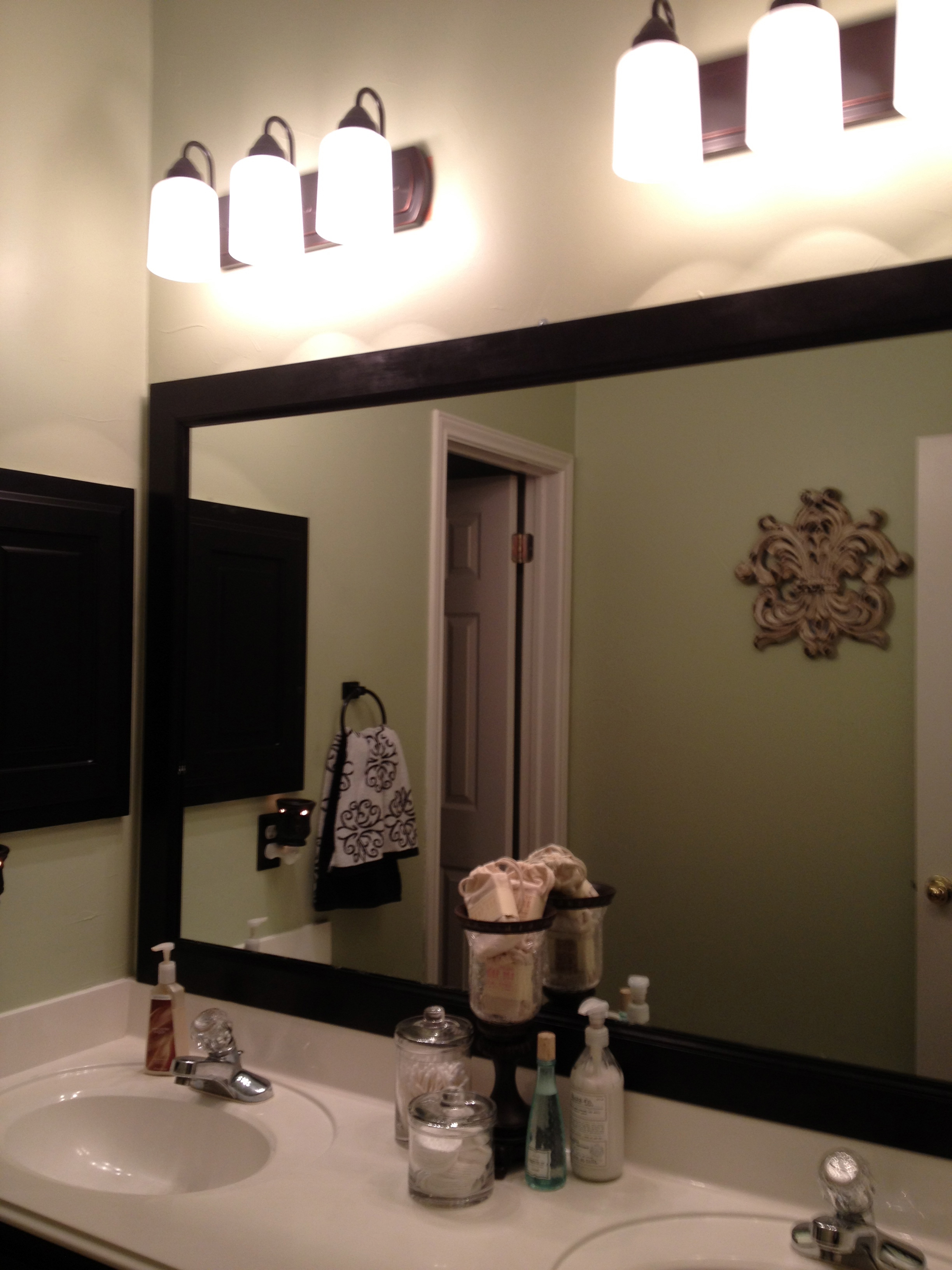 Wonderful Step Check Placement And Tape Bathroom Mirror With Frame Home Decor
